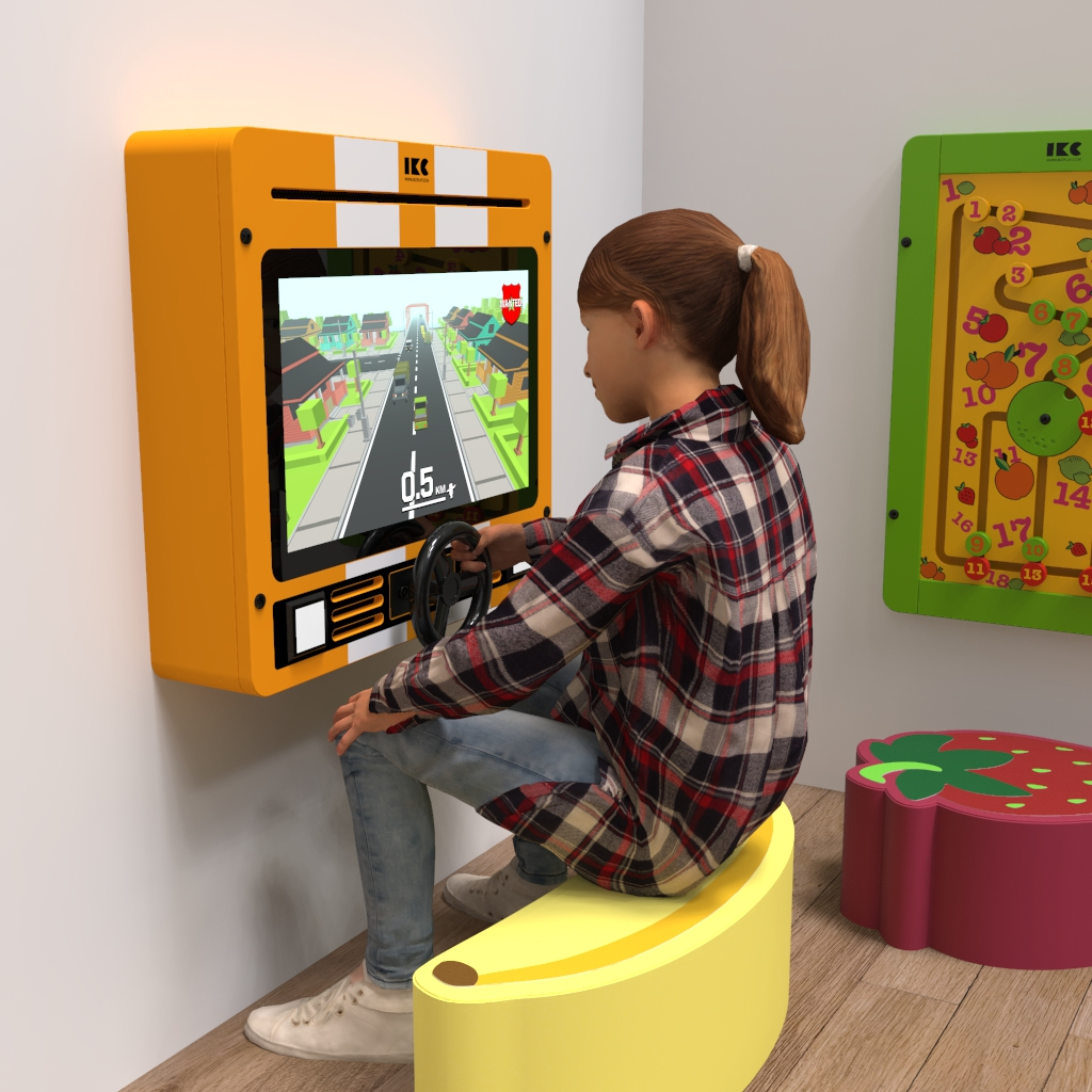This image shows a girl playing on the Interactive play system Delta 21 inch Nitro dash