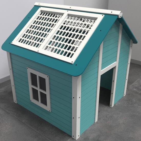 Op deze afbeelding staat een speelhuis formaat   IKC speelhuisjes