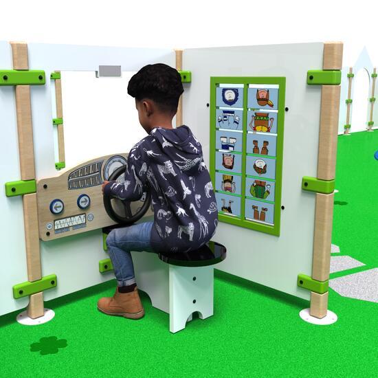 Op deze render ziet u een kinder die met speelhek Dashboard ziet spelen