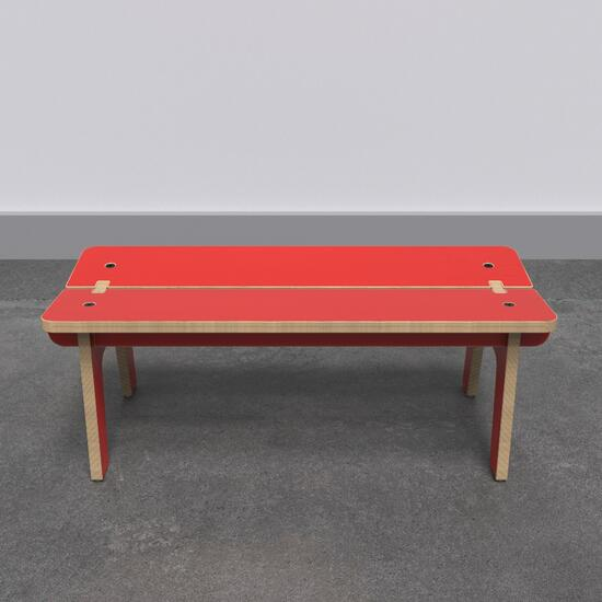 Op deze afbeelding ziet u de Buxus Bench red uit de kindermeubel collectie Buxus