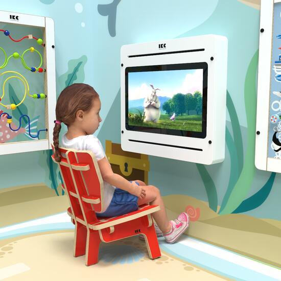 Op deze afbeelding ziet u kindermeubel kinderstoel loungestoel rood