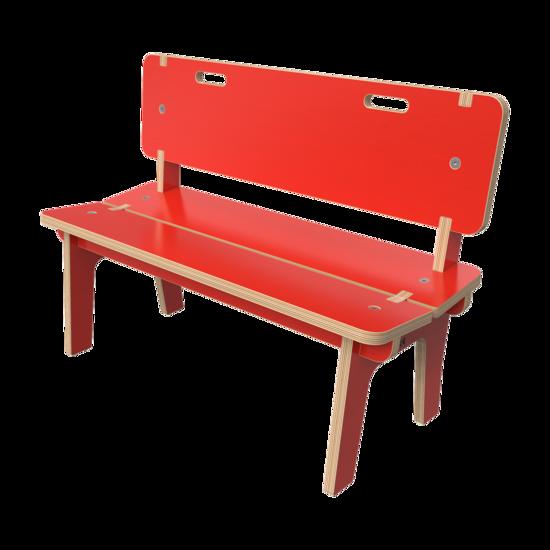 Rood houten bankje voor kinderen   IKC kindermeubels