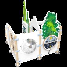 inrichting kinderhoek met hekwerken en een kralentafel en een interactief speelsysteem